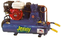Jenny K5HGA-8P 'wheelbarrow'  twin tank portable compressor w/ Honda 5.5 hp recoil